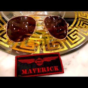 Novelty Unisex Gold Top Gun Aviator Sunglasses